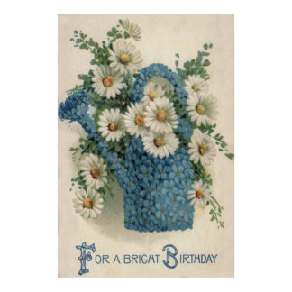 Forget Me Not Daisy Watering Can Poster
