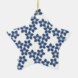 Forget-Me-Not Floral Pattern Ceramic Ornament