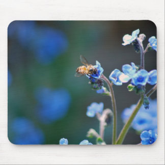 Forget me not flower, bee and meaning mousepads