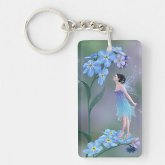 Forget-Me-Not Flower Fairy Double Sided Keychain Rectangular Acrylic Keychain