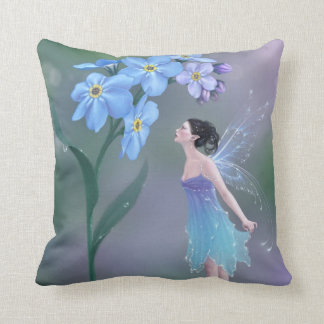 Forget Me Not Flower Fairy Pillow Blue & Purple