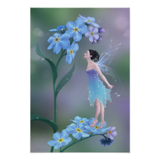 Forget-Me-Not Flower Fairy Poster Art Print