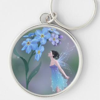 Forget-Me-Not Flower Fairy Premium Keychain Silver-Colored Round Keychain
