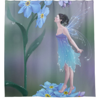 Forget Me Not Flower Fairy Shower Curtain