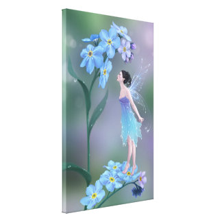 Forget-Me-Not Flower Fairy Wrapped Canvas Print