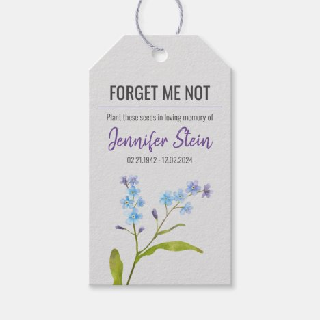 Forget me not flower seed packet funeral memorial gift tags
