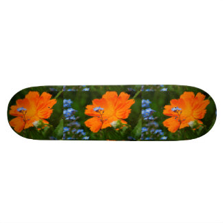Forget-me-not flowering with Ringelblume, Skateboard Deck