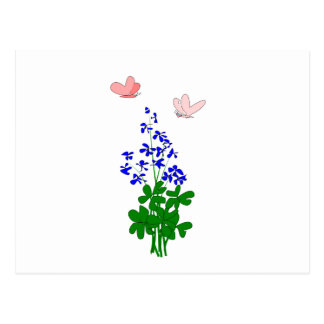 Forget-me-not flowers blue, shamrock, butterfly postcard