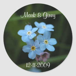 Forget Me Not Flowers Bride & Groom Coffee Mug Classic Round Sticker