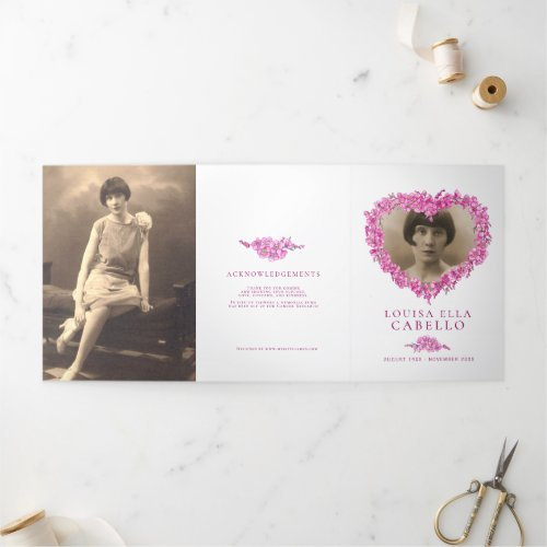 Forget_me_not flowers heart pink funeral Tri_Fold program