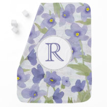 forget-me-not-flowers monogram blanket