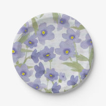 forget-me-not-flowers print paper plate