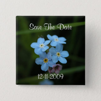 Forget Me Not Flowers Save The Date Square Pin