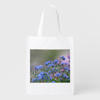 Forget-me-not flowers reusable grocery bag