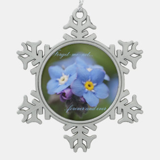 Forget-me-not forever and ever! snowflake pewter christmas ornament