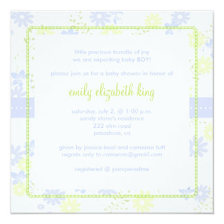 Forget Me Not ~ Garden baby shower 5.25x5.25 Square Paper Invitation Card