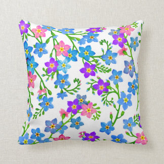 Forget Me Not Garden Flowers Pillow