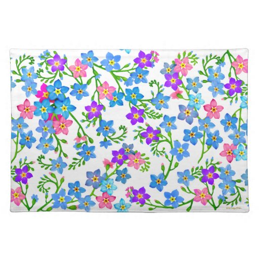 Forget Me Not Garden Flowers Placemat Cloth Place Mat