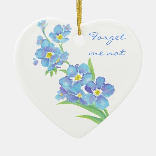 Forget me not, original Watercolor Flower Ceramic Ornament