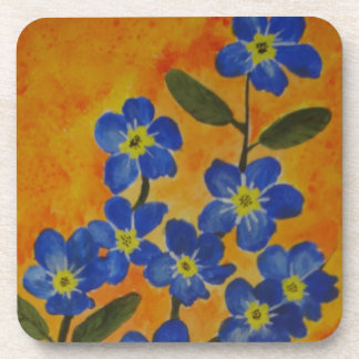 Forget-Me_not painting  on cork coasters -set of 6