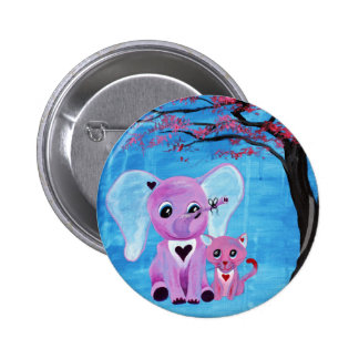 Forget Me Not Pink Elephant Cat Cherry Blossom Art Pinback Button