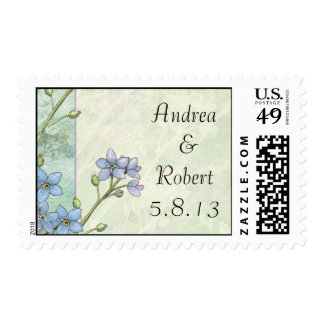 Forget-Me-Not Purple and Green Wedding Postage