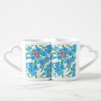 Forget me not seamless pattern coffee mug set
