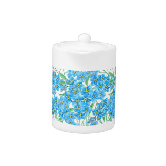 Forget me not seamless pattern teapot