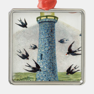 Forget Me Not Songbird Lighthouse Metal Ornament