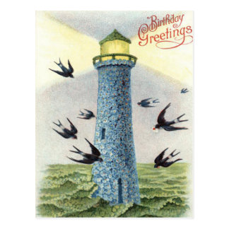 Forget Me Not Songbird Lighthouse Postcard