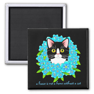 Forget Me Not Tuxedo Cat Cute and Colorful Floral 2 Inch Square Magnet