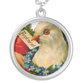 Forget Me Not Victorian Dove Friendship Charm Bird Round Pendant Necklace