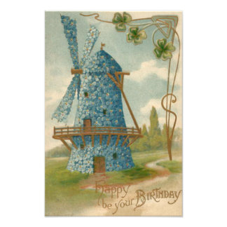 Forget Me Not Windmill Clover Photo Print