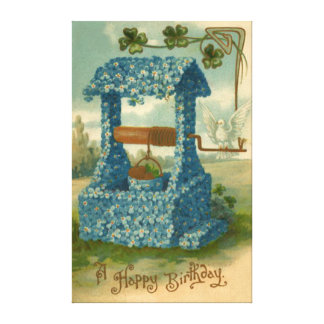 Forget Me Not Wishing Well Clover Canvas Print