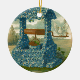 Forget Me Not Wishing Well Clover Ceramic Ornament
