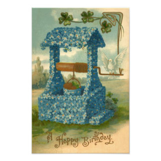 Forget Me Not Wishing Well Clover Photo Print