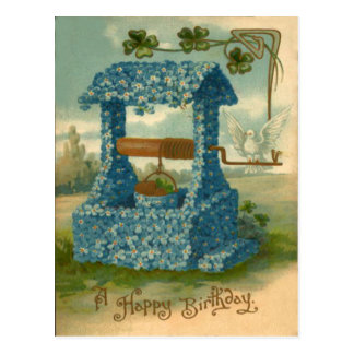 Forget Me Not Wishing Well Clover Postcard