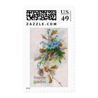 Forget-Me-Nots and Leaves Vintage Birthday Postage