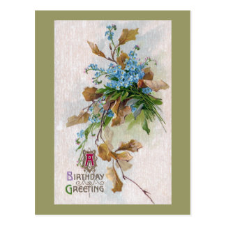 Forget-Me-Nots and Leaves Vintage Birthday Post Card