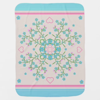 Forget-Me-Nots and Pink Hearts Mandala and Stripes Baby Blanket