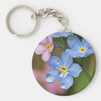 Forget-Me-Nots and Raindrops Macro Basic Round Button Keychain