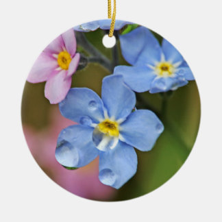 Forget-Me-Nots and Raindrops Macro Christmas Ornament