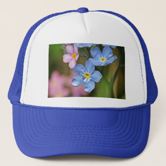 Forget-Me-Nots and Raindrops Macro Trucker Hat
