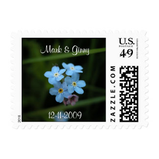 Forget Me Nots Bride And Groom Small Postage Stamp