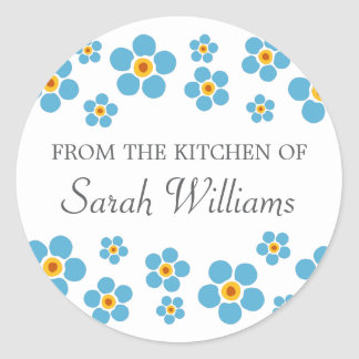 Forget me nots floral from the kitchen of labels classic round sticker