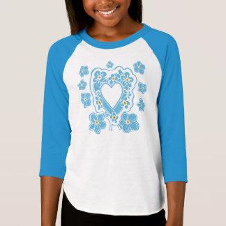 Forget-Me-Nots Floral Heart Girl's Raglan T-Shirt