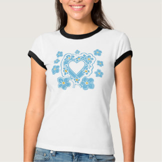 Forget-Me-Nots Floral Heart Women's Ringer T-Shirt
