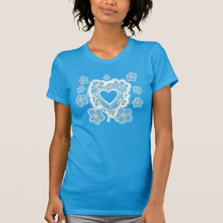 Forget-Me-Nots Floral Heart Women's Teal T-Shirt