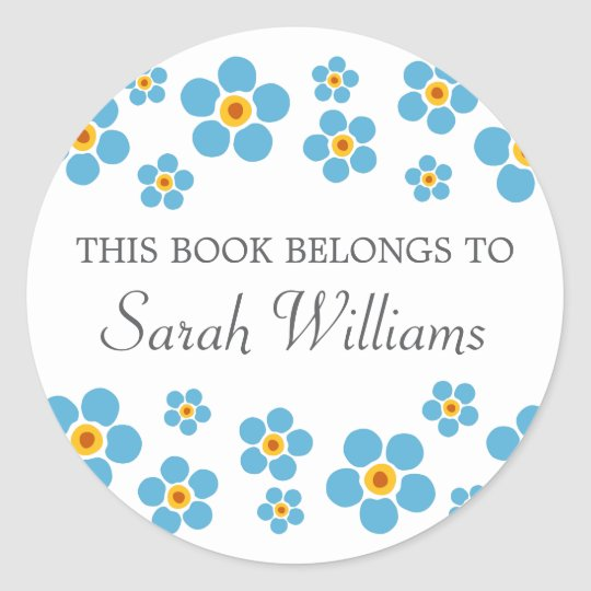 Forget me nots floral this book belongs to sticker