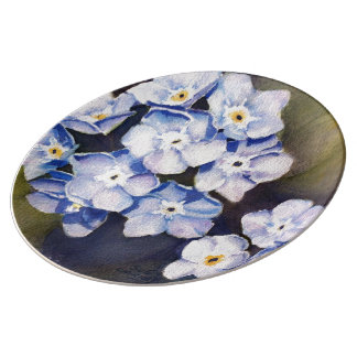 FORGET-ME-NOTS FLOWER DECORATIVE WALL PLATE PORCELAIN PLATE